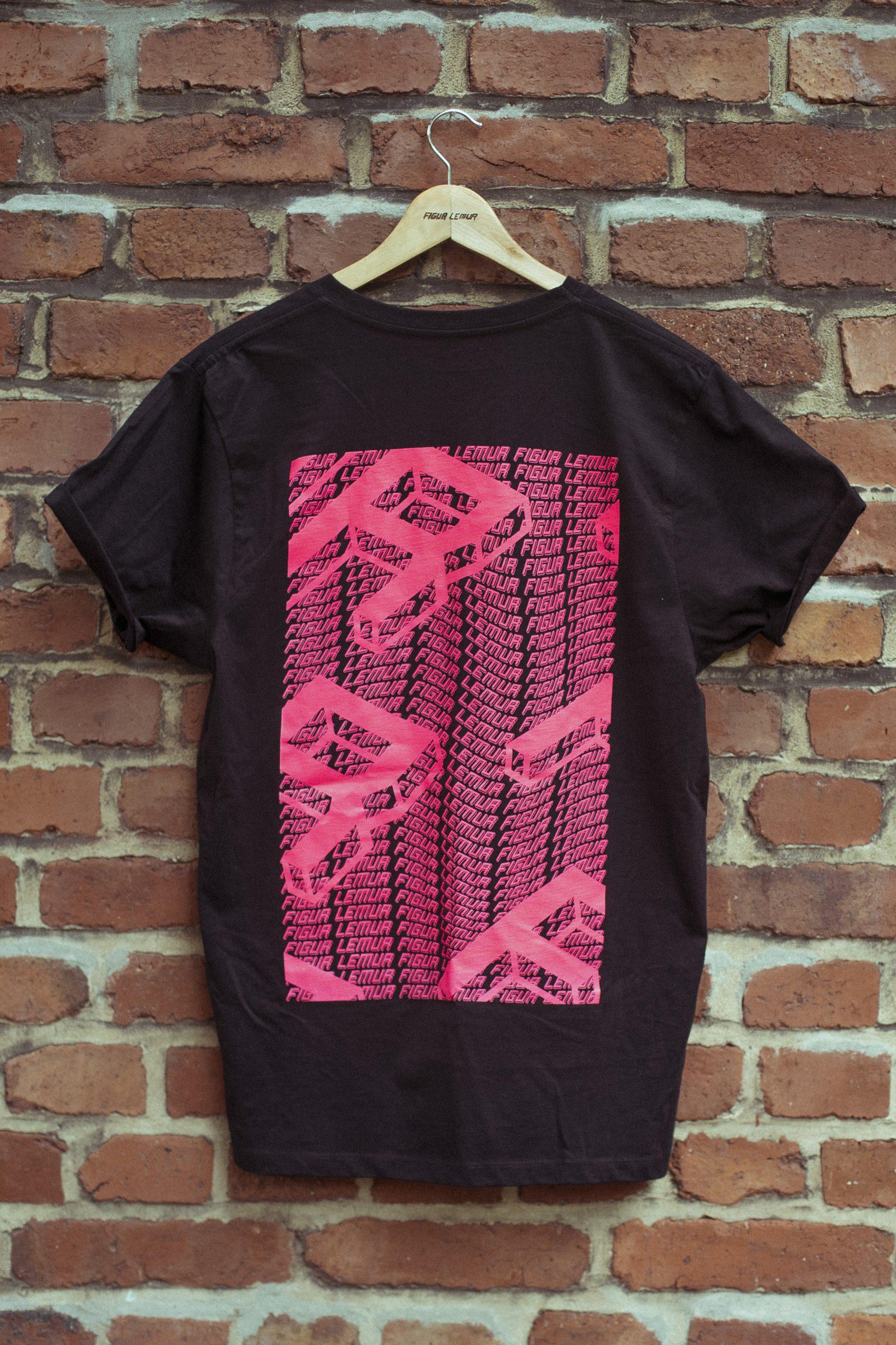 Figur Lemur T-Shirt schwarz Backprint pink